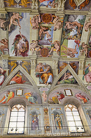 Sistine chapel ceiling paintings Editorial Stock Photo