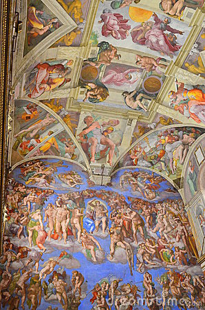 The sistine chapel mural paintings Editorial Stock Photo