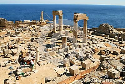 Sitio de la arqueología en Lindos (Rodas)