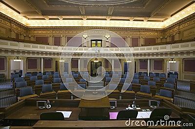 Sitios vacíos de la cámara de cámara de los representantes Foto editorial