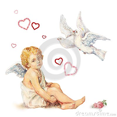Free Sitting Angel, Doves And Roses Hearts Royalty Free Stock Images - 28623889