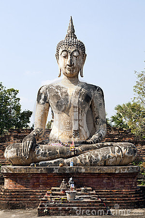 Sitting Buddha against Blue Sky