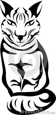 Sitting cat stencil