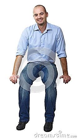 Sitting caucasian man