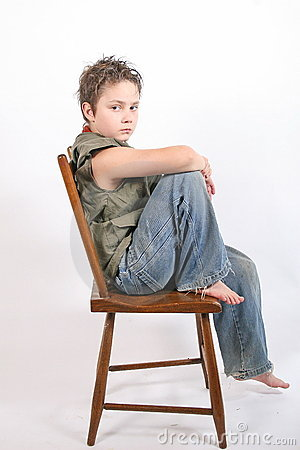 Sitting on chair