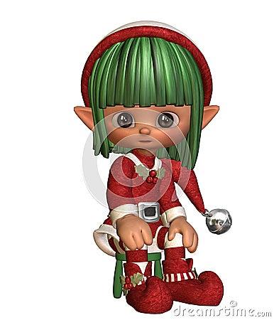 Sitting christmas elf