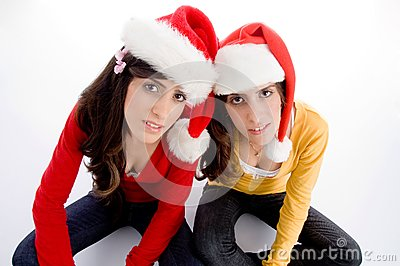 Sitting females with christmas hat