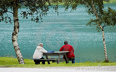 Sitting at fjord