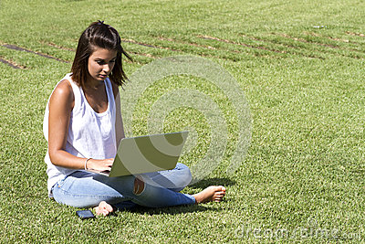 Sitting on a grass