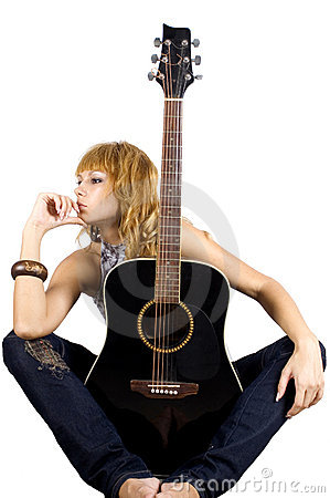 Sitting with guitar