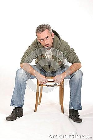 Sitting Intense Man