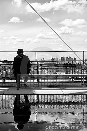 Sitting man and paris skyline