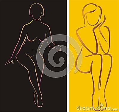Sitting naked girls