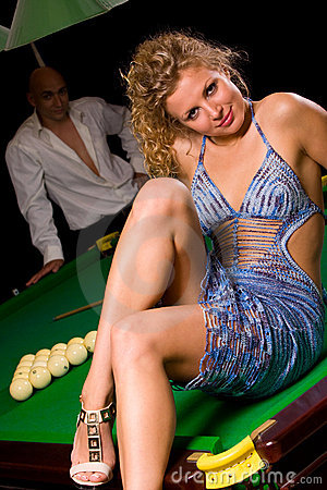 Free Sitting On Green Snooker Table Stock Image - 6148441