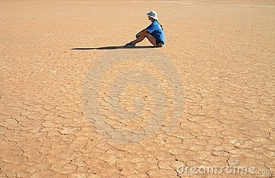Sitting on a parched grounds