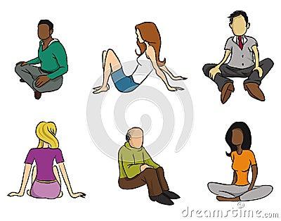 Sitting people