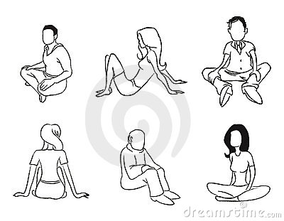 Sitting people outline