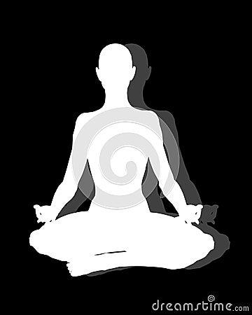 Sitting Position Yoga on Black