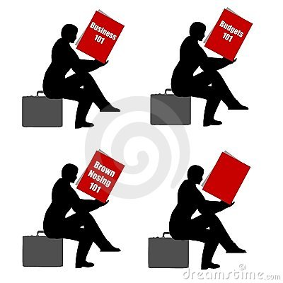 Sitting Reading Book Briefcase