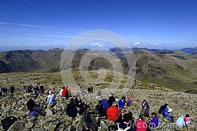 Sitting on Scafell Editorial Photo