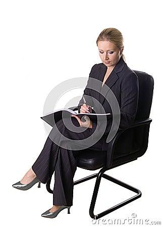 Sitzen und Schreiben