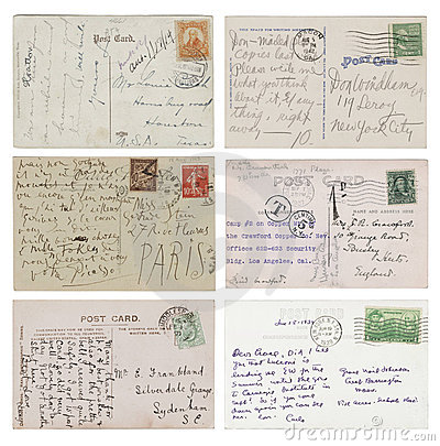 Six antique handwritten Postcards