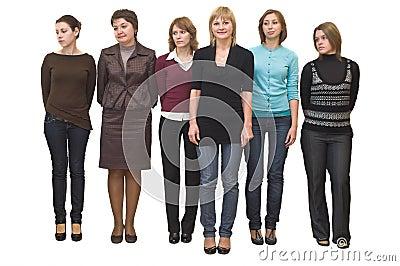 Six beautiful girls in line