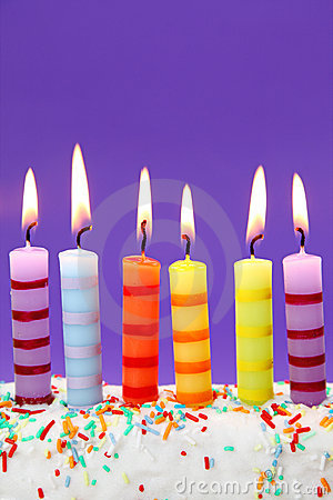 Six birthday candles
