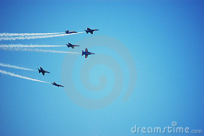 Six Blue Angels Airplanes Perform as a Team Editorial Photography
