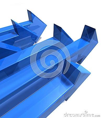 Six blue arrows