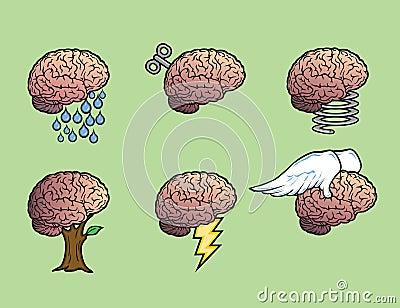 Six brains illustration