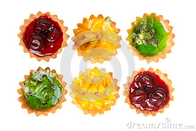Six cake with fruits