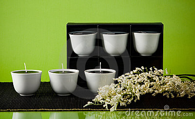 Six candles in box and flowers on green background