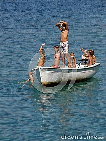 Six children on boat