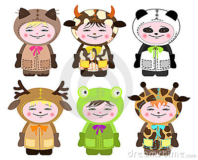 Six children in costumes of animals