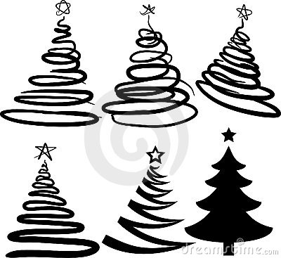 Six christmas-trees. [Vector]