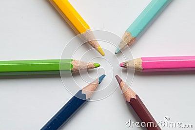 Six color pencils