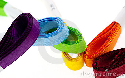 Six colored ribbons