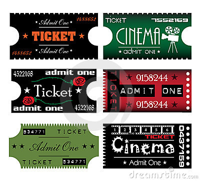 Six colorful tickets