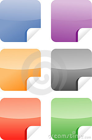 Six colorful web stickers/labels