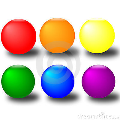 Six colourful Buttons