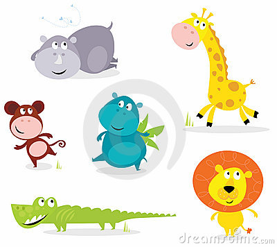 Six cute safari animals - giraffe, croc, rhino...