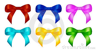 Six decorative color ribbon bows
