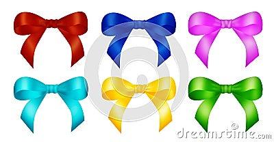 Six decorative color ribbon bows