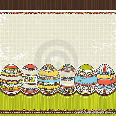 Six easter egg over color background, vector