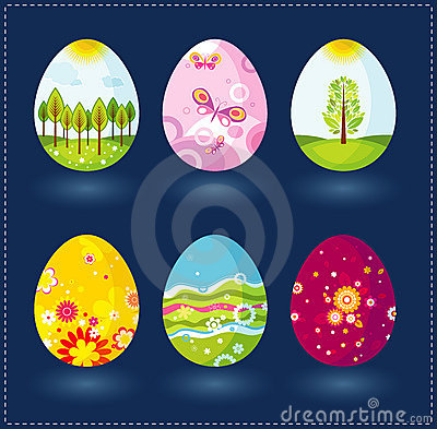 Free Six Easter Eggs, Vector Royalty Free Stock Image - 2043256