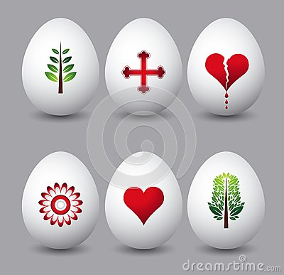 Six easter eggs, vector
