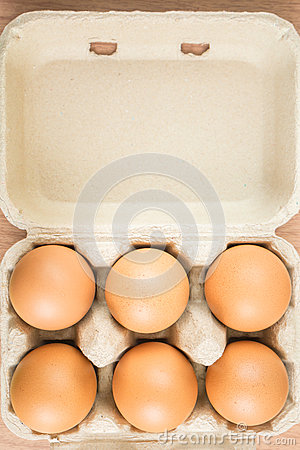 Six eggs in egg box