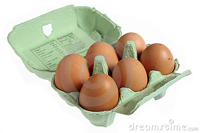 Six eggs in a papier mache egg box