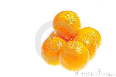 Six fresh oranges isolated on white